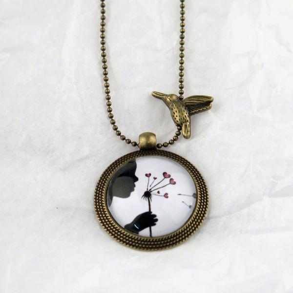 Medaillon-Halskette Löwenzahn-Herzen