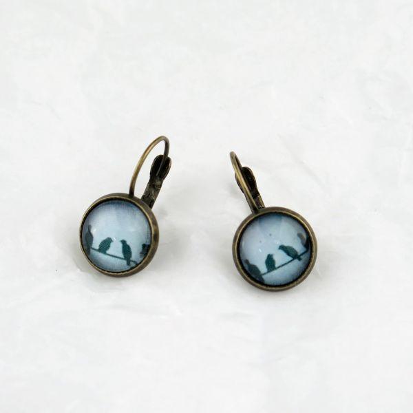 Ohrring blau Vögel auf Drahtseil