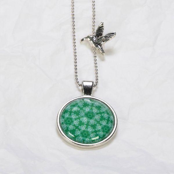 Medaillon-Halskette Kaleidoskop Grün