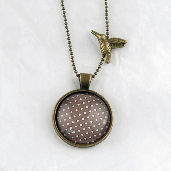 Medaillon-Halskette braun/weisse Punkte