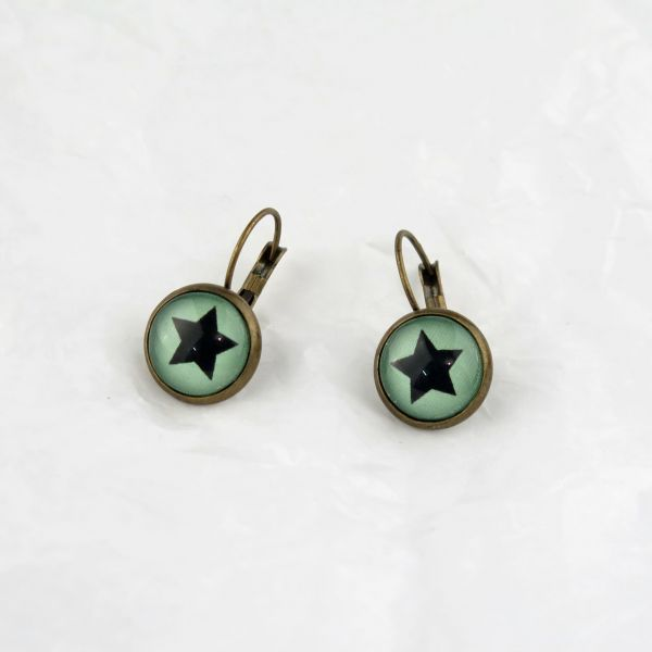 Ohrring grün/schwarzer Stern