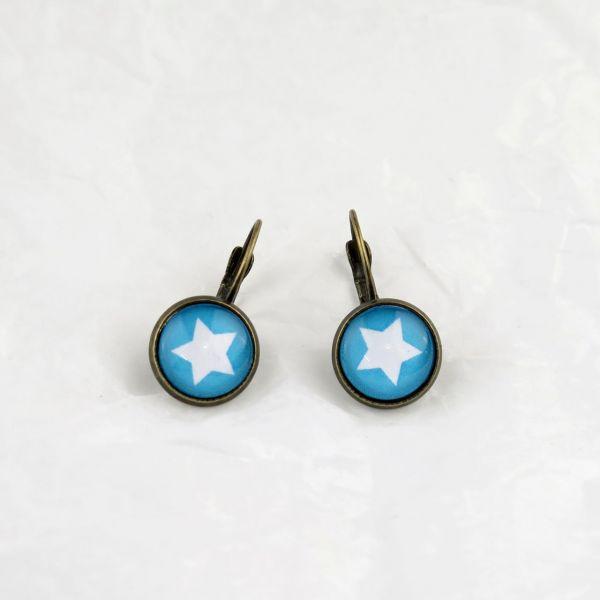 Ohrring blau/weisser Stern