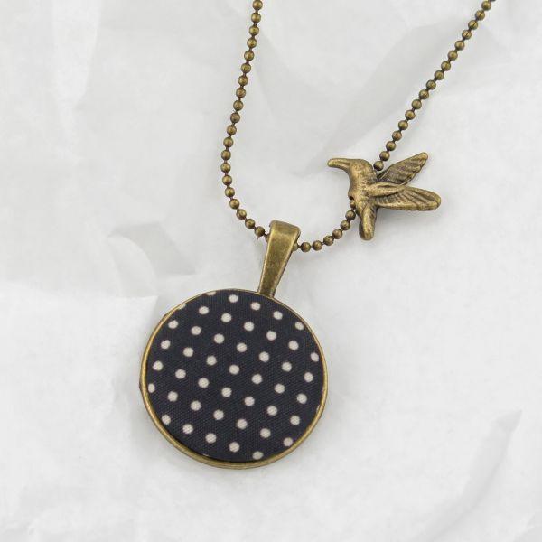 Medaillon-Halskette Stoff schwarz