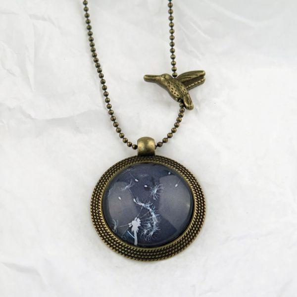 Medaillon-Halskette 1 Löwenzahn weiss/schwarz
