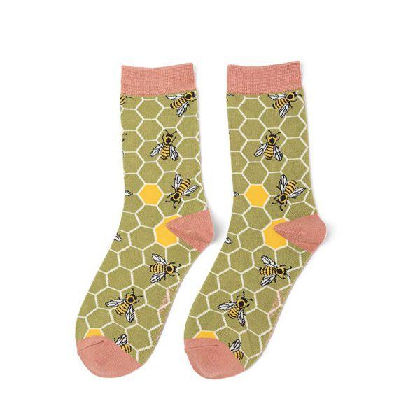 Miss Sparrow Socken Bienenstock grün