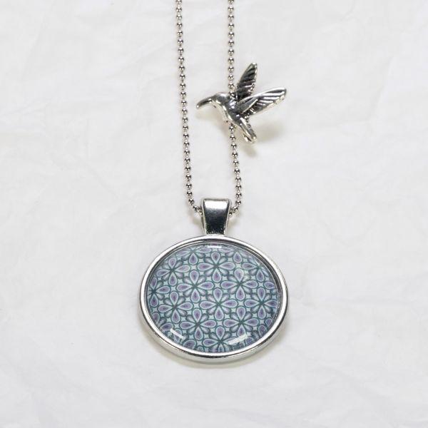 Medaillon-Halskette Muster grün/violett