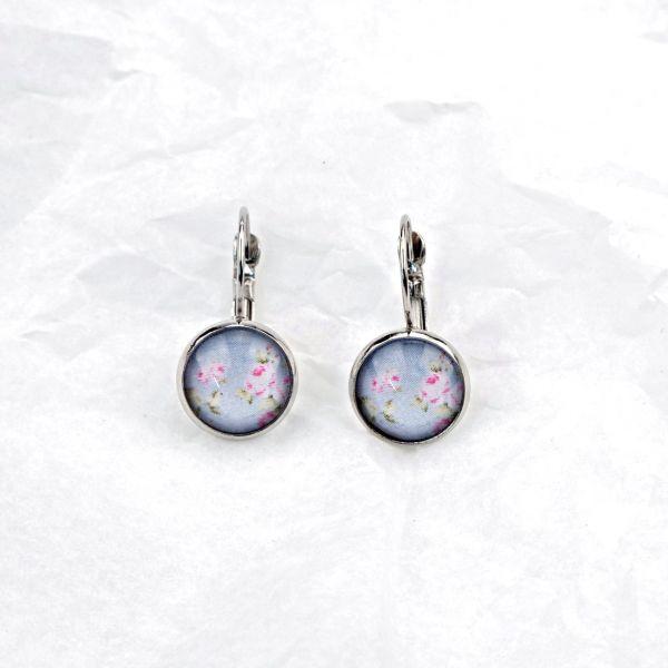Ohrring blau/rosa Blumen
