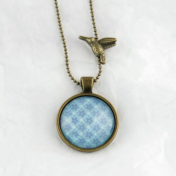 Medaillon-Halskette Sternmuster blau