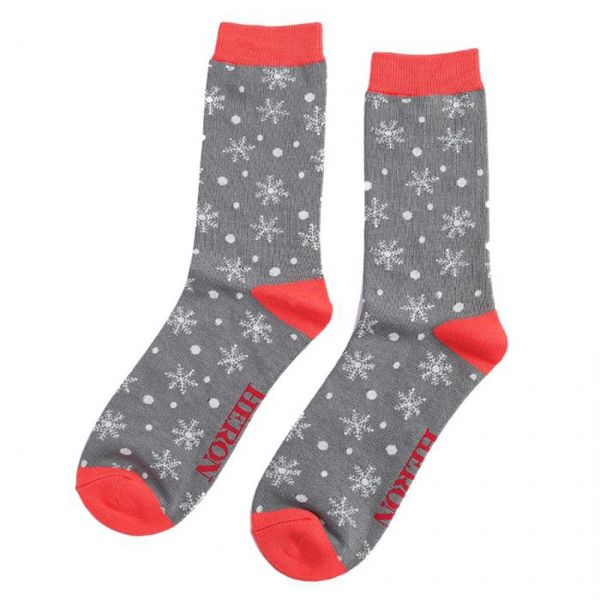 Mr. Heron Socken Schneeflocken grau