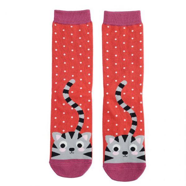Miss Sparrow Socken Katzen rot