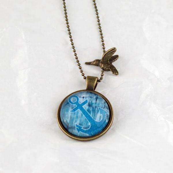 Medaillon-Halskette blau Anker