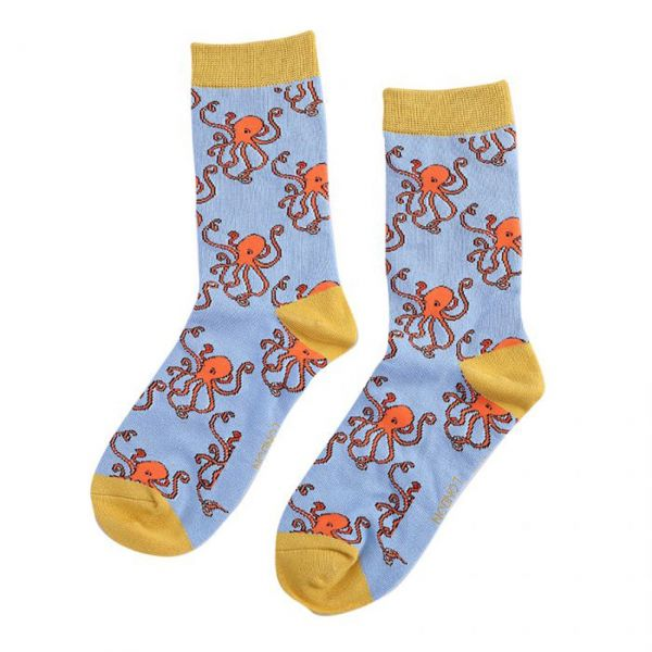 Miss Sparrow Socken Octopus blau