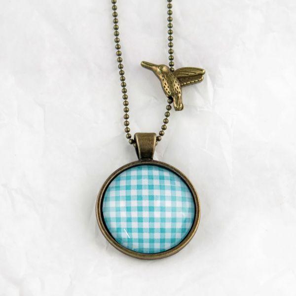 Medaillon-Halskette türkis Karo
