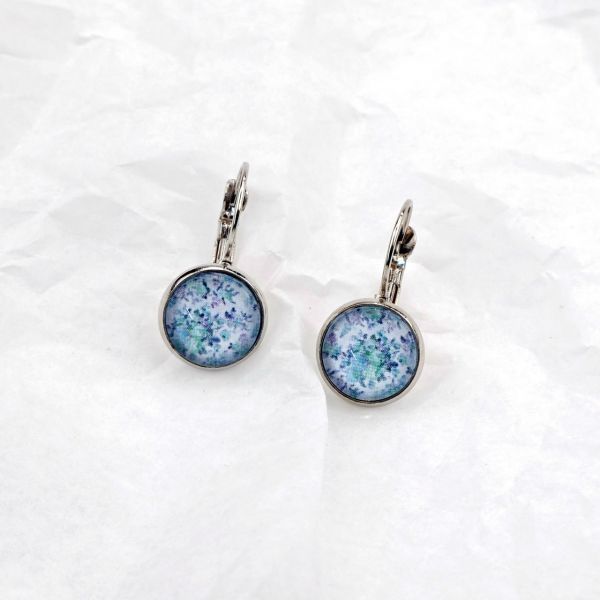 Ohrring Blumenmuster blau