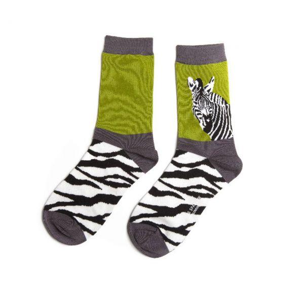 Miss Sparrow Socken Zebra grün front