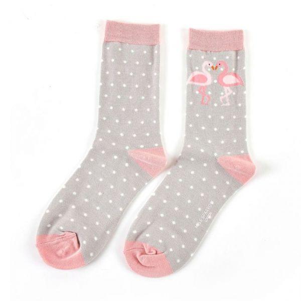Miss Sparrow Socken zwei Flamingos grau