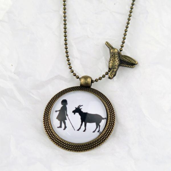 Medaillon-Halskette Mädchen mit Ziege