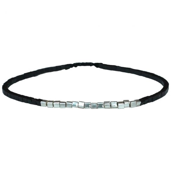 LeJu Armband BL Square Silber/schwarz