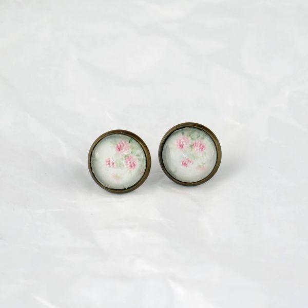 Ohrstecker Cabochon Rosenmuster rosa-grün
