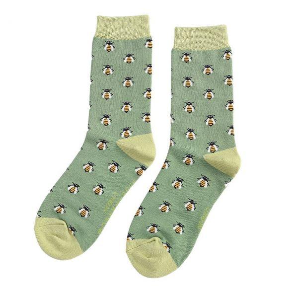 Miss Sparrow Socken Bienen gruen