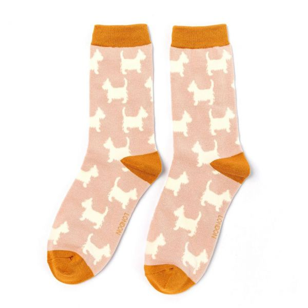 Miss Sparrow Socken Scotties rosa front