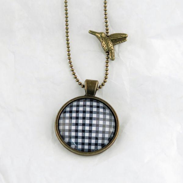 Medaillon-Halskette Karo schwarz-weiss