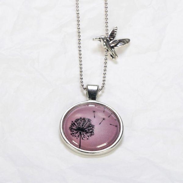 Medaillon-Halskette Löwenzahn lila