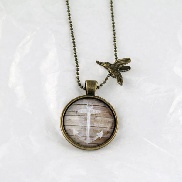 Medaillon-Halskette weisser Anker / braun