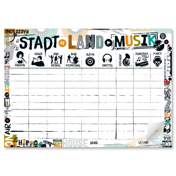 Spielblock Stadt-Land-Musik Block