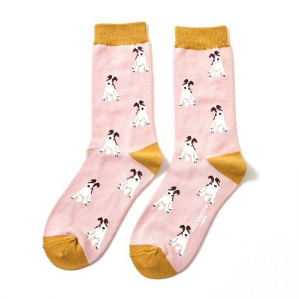 Miss Sparrow Socken Fox Terrier rosa