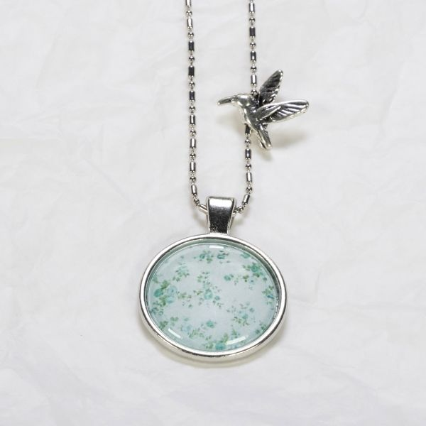 Medaillon-Halskette Rosen grün