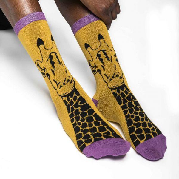 Miss Sparrow Socken Giraffe gelb