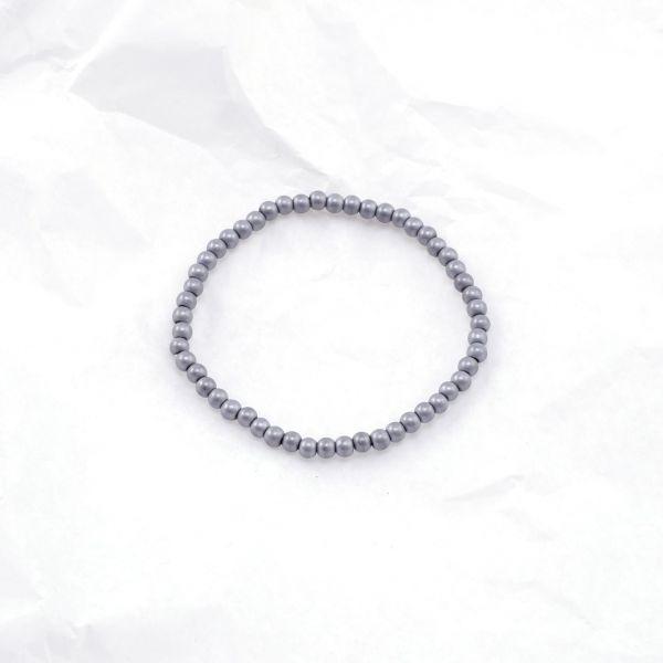 Armkette Glasperlen rund grau