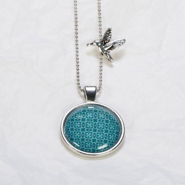 Medaillon-Halskette Muster Dunkelgrün