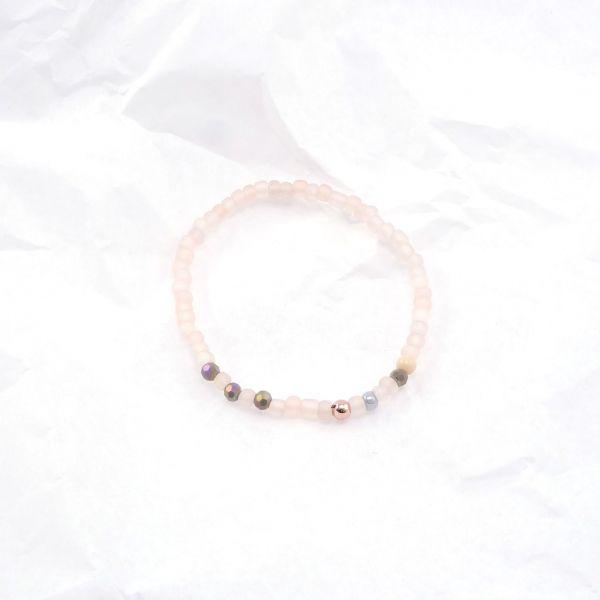 Armkette Glasperlen rund rosa