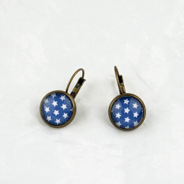 Ohrring blau/weisse Sternchen