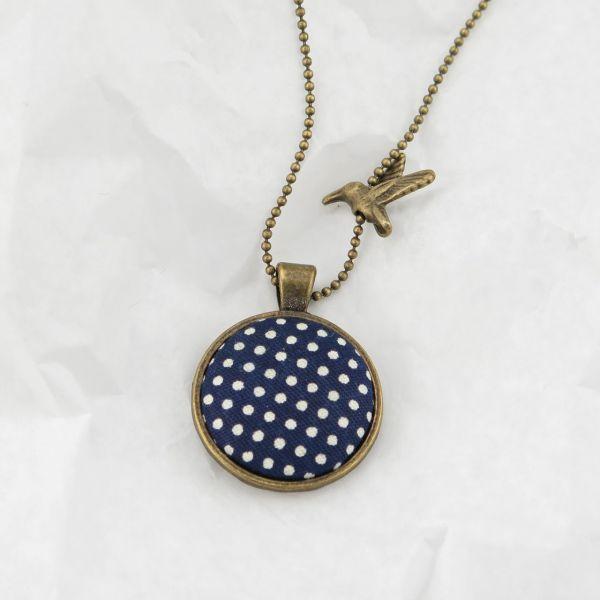 Medaillon-Halskette Stoff blau