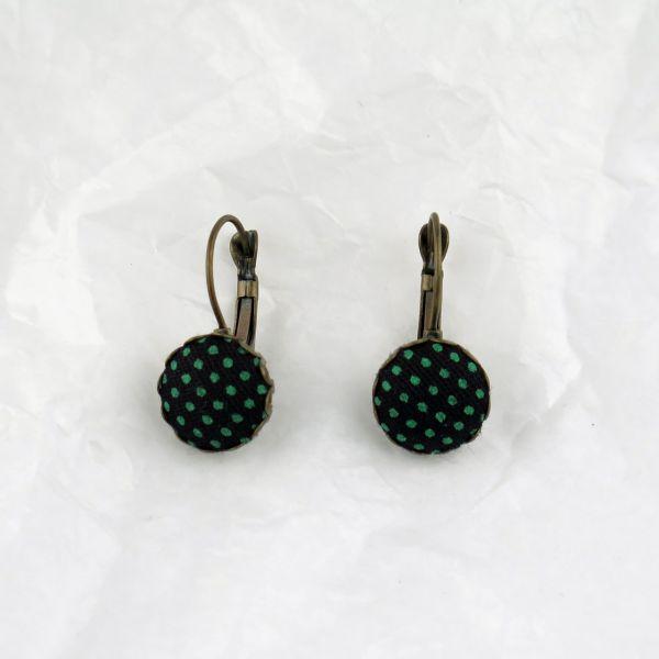 Ohrring Stoff schwarz/grüne Punkte