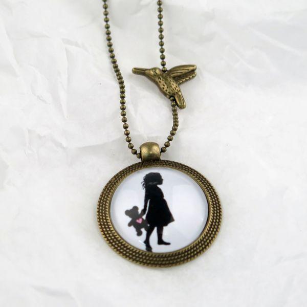 Medaillon-Halskette Teddy-Herz