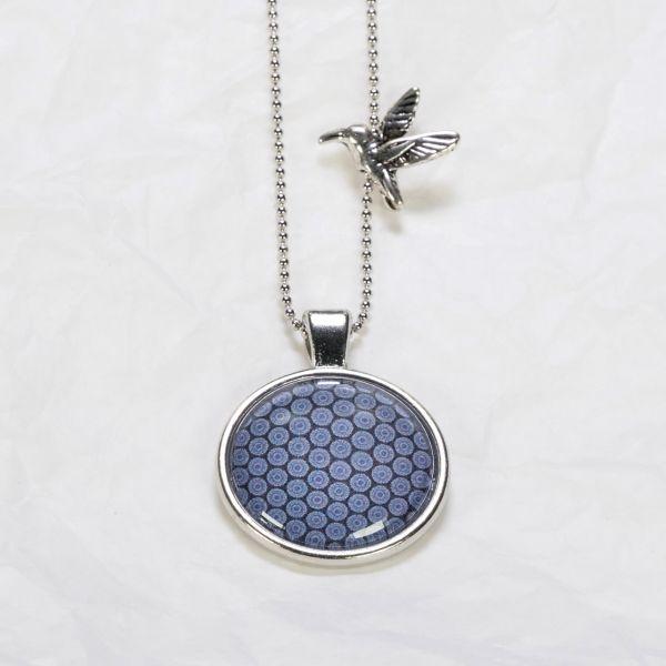 Medaillon-Halskette Muster Blau
