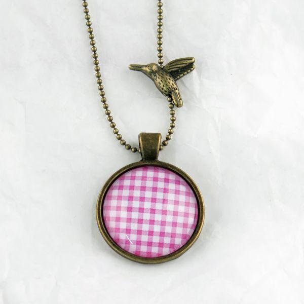 Medaillon-Halskette Karo pink-weiss