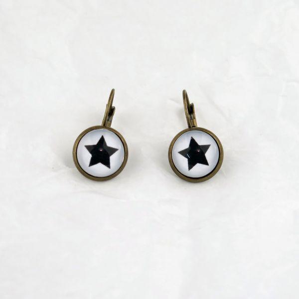 Ohrring weiss/schwarzer Stern