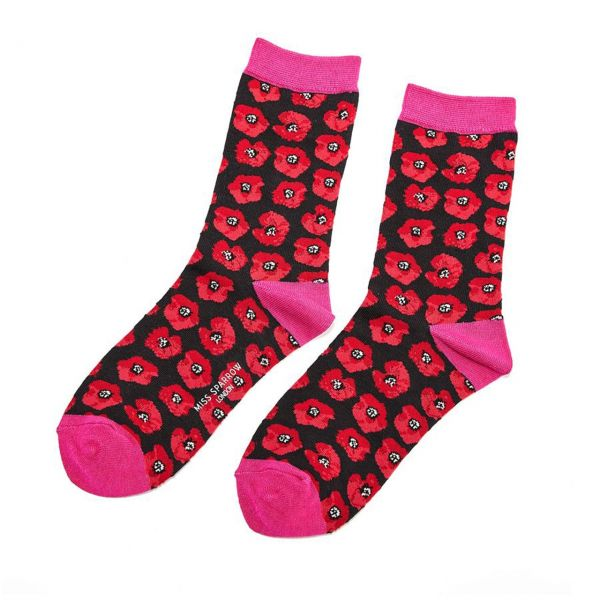 Miss Sparrow Socken Mohn schwarz