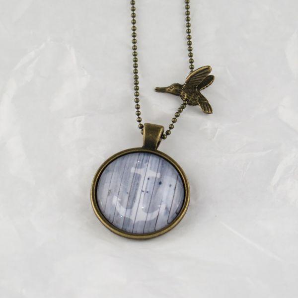 Medaillon-Halskette weisser Anker / grau