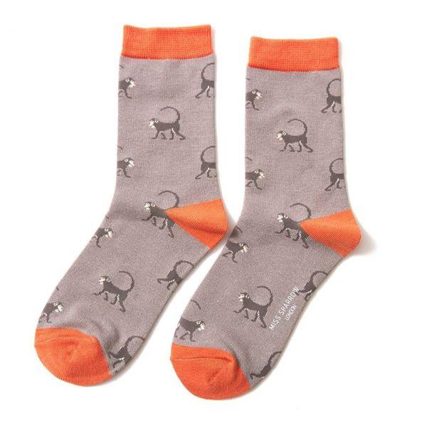 Miss Sparrow Socken Affen grau