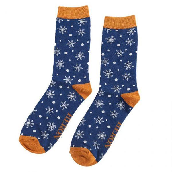 Mr. Heron Socken Schneeflocken blau