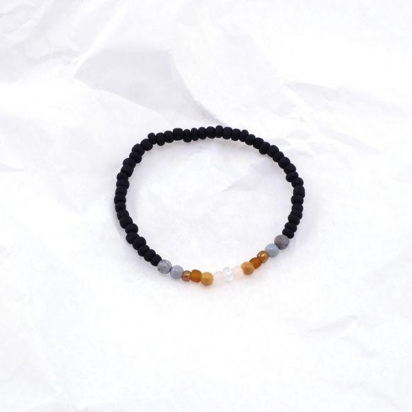 Armkette Glasperlen rund schwarz