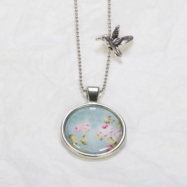 Medaillon-Halskette Rosen Blau