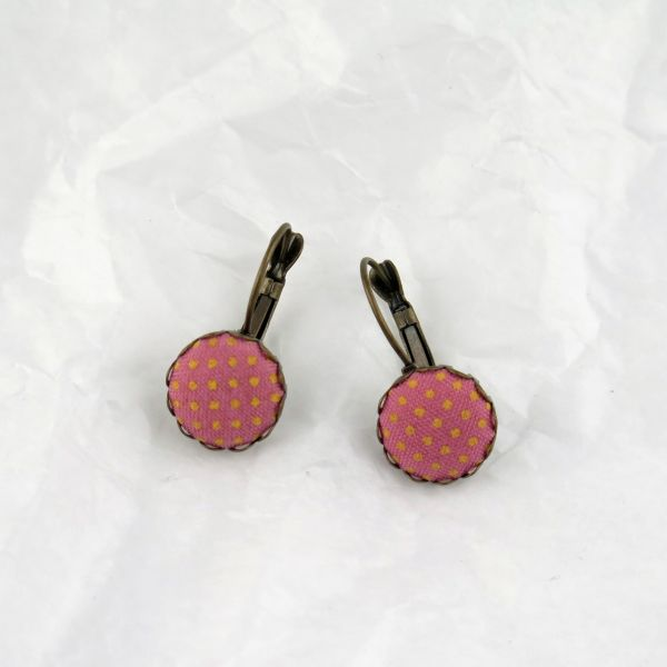 Ohrring Stoff rosa/gelbe Punkte