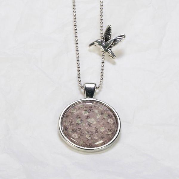 Medaillon-Halskette Blumen Dusty Pink
